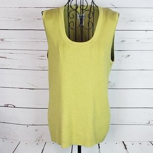 Chico's Sleeveless Silk Blend Ribbed Shell Top